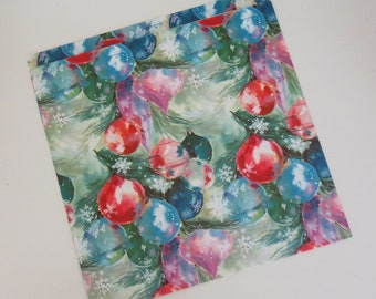Vintage Hallmark Mid-Century CHRISTMAS Gift Wrap - Wrapping Paper - Colorful ORNAMENTS - with coordinating gift card - 1960s
