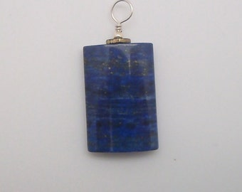Lapis sterling and brass pendant