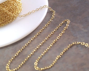 Gold Flattened Cable Chain, Ten Foot Listing, 1.8mm Gold Filled Flatted Cable Chain for Making Jewelry (997af)