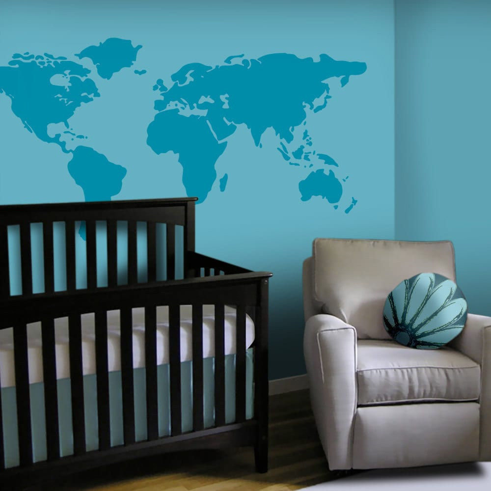Baby nursery wall decal large world map nursery wall decal zoom amipublicfo Images