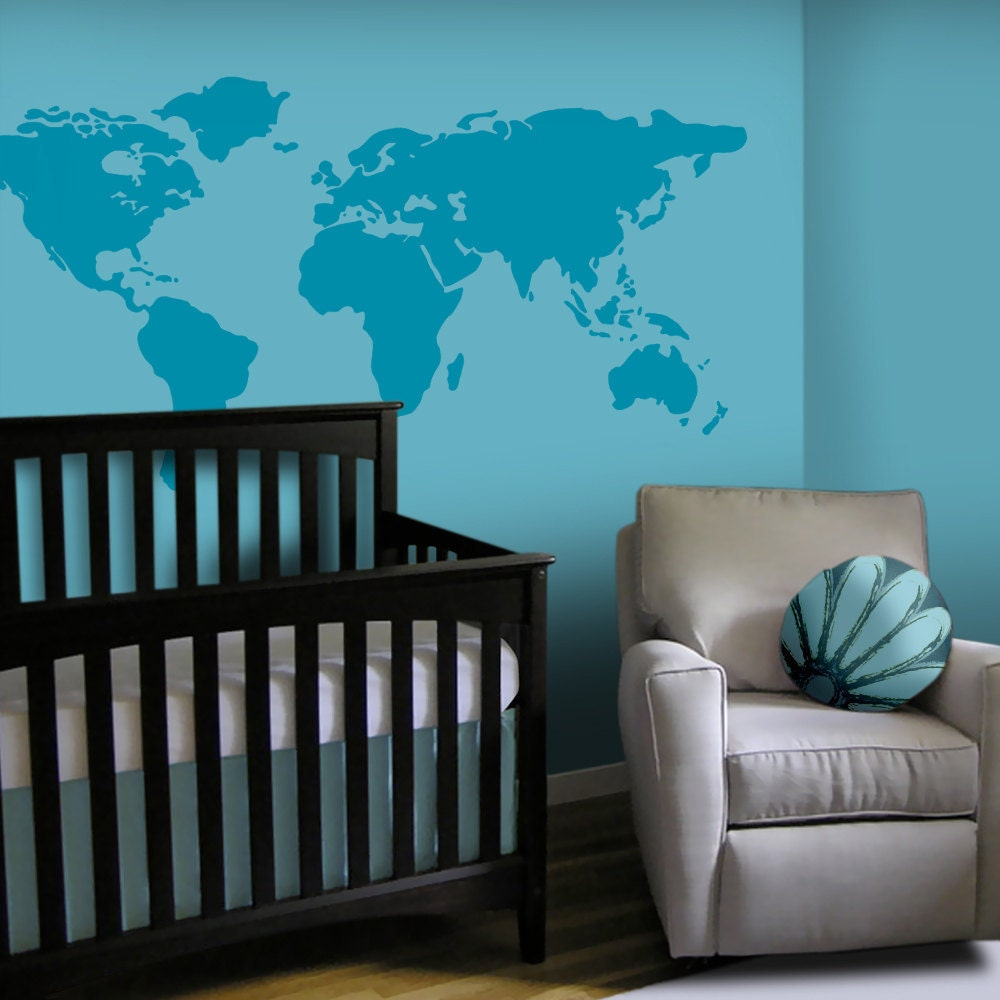 Baby nursery wall decal large world map nursery wall decal zoom gumiabroncs Images