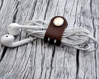 Leather Cord Holder // Leather Headphone Holder - Leather Cable Organizer - Cord Organizer - Headphone Case - Earbud Holder
