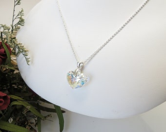 Swarovski Crystal Pendant Heart Necklace- Crystal Heart In Sterling silver- 15-20 Inch Length- Valentine Day- Swarovski Aurora Borealis