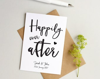 Personalised wedding card - Custom Wedding card - Personalized wedding card - Happily ever after card - Custom Anniversary card -