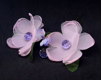 Pink Flower Hair Pin Hair Accessories Headpiece for Ladies and Women Wedding or Party Performance