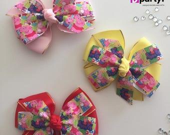 Peppa Pig Hair Bow, Peppa Pig Birthday, Peppa Hair Bow, Peppa Pig, Peppa Big Bow, Peppa Pig Outfit