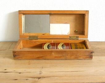 Vintage wooden primitive box theatre makeup.Storage box lid.Catchall.Wedding keepsake box.Desk organizer.Jewelry box.Bathroom storage