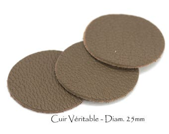 6 round genuine leather - Diam. 25 mm - goat leather - Taupe color set
