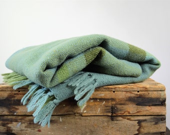 Blue and Green Plaid Wool Throw by Three Weavers Hand Woven Virgin Wool Blanket with Fringe