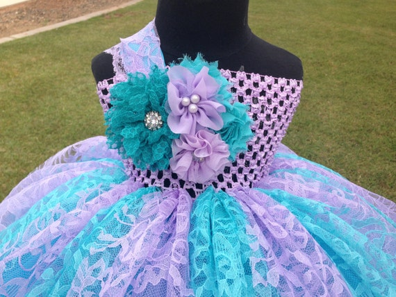 Turquoise & Lavender Lace Flower Girl Dress Customize to