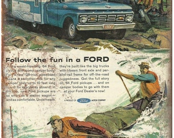 """1964 Ford Pickup Truck Camper Ad 10"""" x 7"""" Retro Look Metal Sign"""