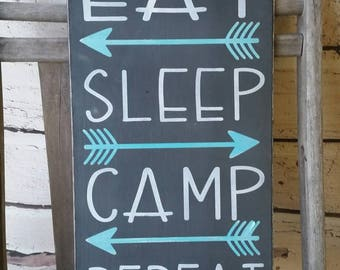 Eat Sleep Camp Repeat Camping Rules Sign Camper sign Distressed Rustic Primitive Typography subway sign 10x20