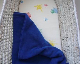 Gender Neutral Soft Fleece Baby Moses/Pram Blanket Royal Blue