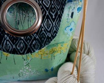 MEDIUM Fairy Forest Project Bag, Knitting Project Bag, Reversible, Pocket, Crochet Project Bag, Saxi Bags, Saxi Bag, Yarn Bag, Knot Bag