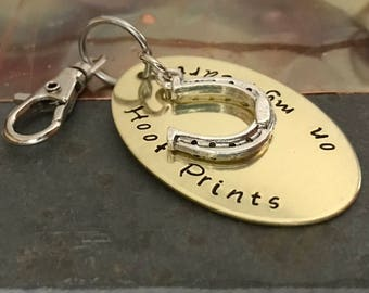 HORSE MEMORIAL KEYCHAIN | Hoof Prints on my Heart | Horse Memorial Gift | Horse Shoe Memorial Jewelry | Horse Lover Gift | Horseshoe