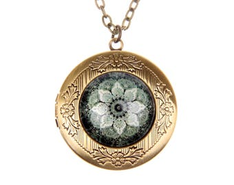 Mandala Necklace, Mandala locket, magic flower jewelry, 2020m