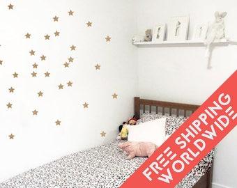 Metallic Gold Stars Wall Decals Decor Stickers Nursery Baby Girl Sky Pattern Modern & Scandinavian - Sets of 25
