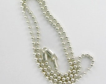 Sterling Silver 3mm Bead Ball Chain or Necklace, Choice of Length