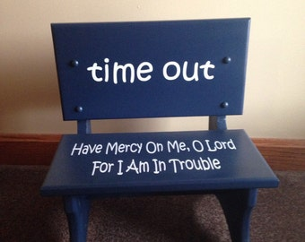 Handmade wooden toddler time out chair-bench, childrens learning-behavior chair, seat can be personalized with childs name