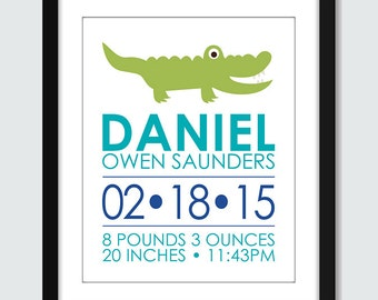 Crocodile Birth Announcement Wall Art. Alligator Birth Announcement Wall Print. Modern Birth Announcement. 8x10 Baby, Nursery Wall Poster