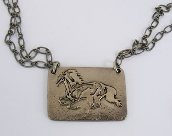 Horse Jewelry, Horse Necklace, Running Horse, Horse Lover, Dark Silver Horse Necklace, Wild Horse, Rustic Horse Necklace, Pony, Equestrian