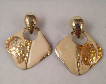 Vintage Gold and Ivory Enamel Post Earrings, 1.75 Inches Long & 1.5 Inches Wide Previously 14 Dollars ON SALE