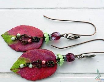 Fuchsia- bold, lightweight dangle earrings in fuchsia and green with handmade polymer clay bead, ceramic beadcap and Czech glass