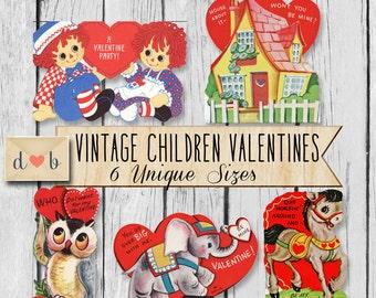 Vintage Children Valentines - Digital Collage Sheet & Ephemera- 6 Unique Images
