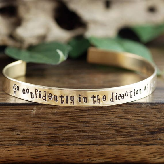 Go confidently in the direction of your dreams, Cuff Bracelet, Personalized Bracelets, Graduation Jewelry, Graduation Gift, Inspirational