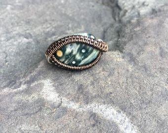 Ocean Jasper Wire Wrapped Ring