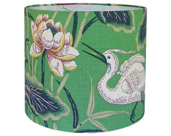 Lotus Garden Lamp Shade, Custom Lamp Shade Green, Floral Lamp Shade Bird, Chinoiserie Lamp Shade, Table Lampshade, Multiple Sizes Available