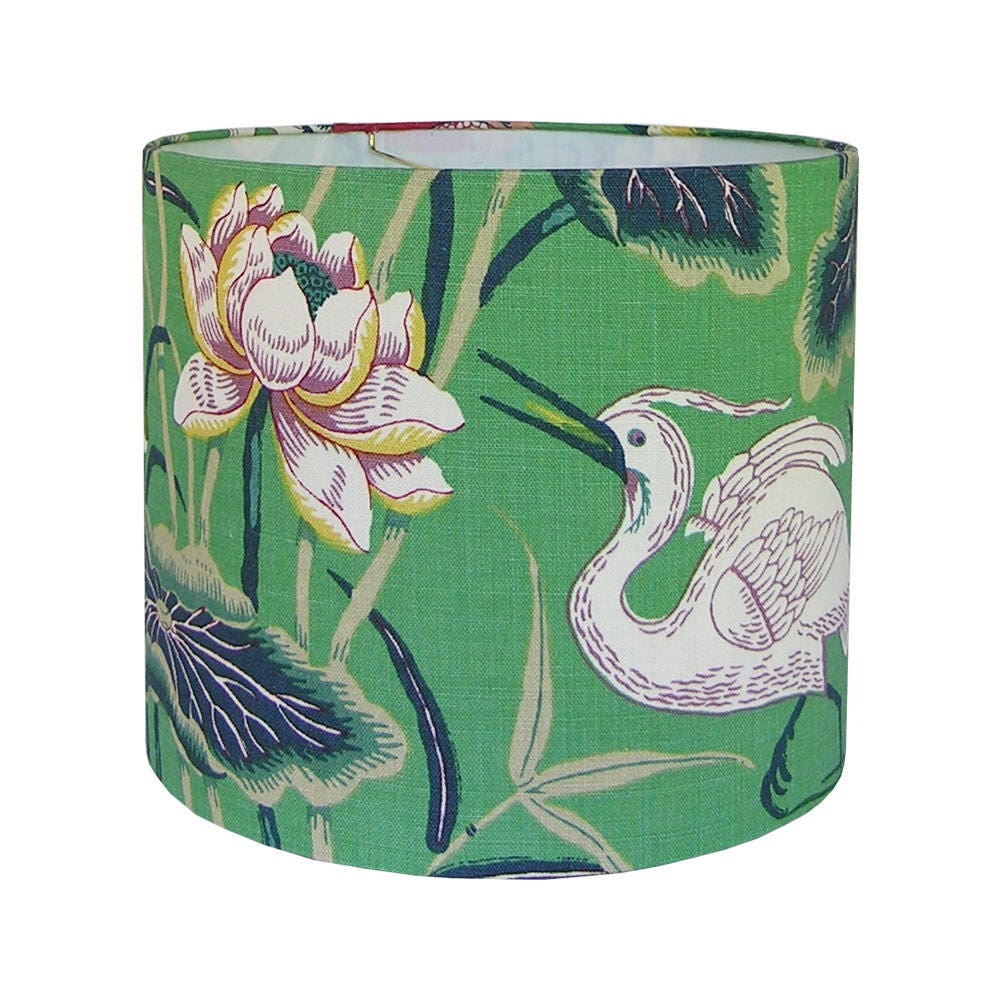 Lotus Garden Lamp Shade Custom Lamp Shade Green Floral Lamp