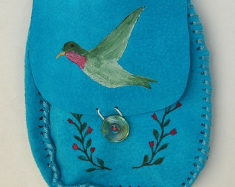 Hummingbird Medicine Bag, Suede Pouch, Small Purse