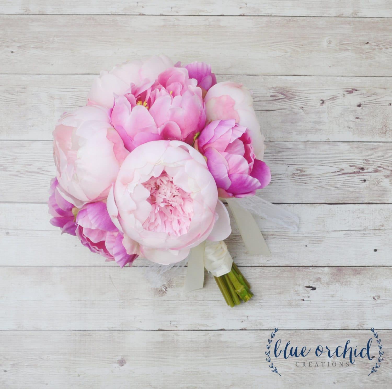 Peony Bouquet Pink Peony Bouquet Silk Peony Bouquet