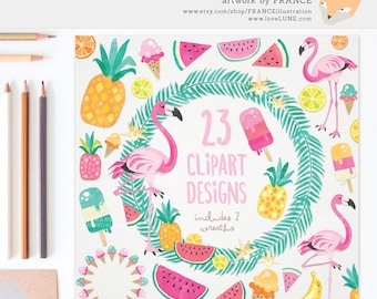 3 FOR 2. Summer Tropical Clipart: Flamingo & Food. Watercolor Clipart. Pineapple, Ice Cream, Watermelon, Wreaths, Popsicle, Lime. CA019.