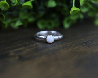 JOLIE Ring - White Opal Stacking Solitaire Ring, Sterling Silver 2.75mm band w/ 5mm Round Opal Cabochon, Solitaire Ring, Stackable Ring