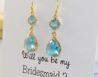 Aquamarine Earring,Rope Rim Aquamarine,Blue Bridesmaid,Aqua Bridesmaid,Blue Earring,Bridesmaid Gift,Aqua Earring Sets,aquamarine Earrings