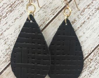 Black Basket Weave Leather Teardrop Earrings