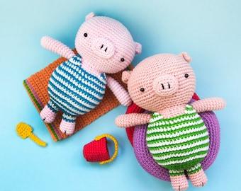 Piglet on holiday | amigurumi crochet pattern | crochet pig in swimsuit