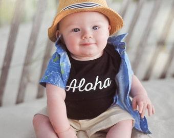 Aloha Shirt for Kids - Black & White - Island Baby - Kids Hawaiian Shirt - Hawaii Baby - Baby Traveler -  Island Child - Hawaiian Vacation