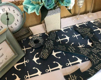 Navy anchors table runner, weddings, partys