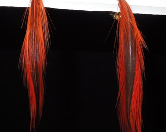 Vintage 1970s Orange Feather Clip Earrings