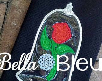 Inspired Beauty & the Beast Rose in Glass Machine Applique Design