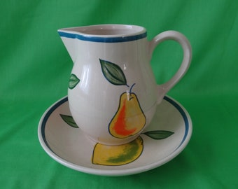 Pear pitcher and saucer bowl