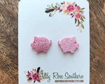 Pink pig earrings, show pig earrings