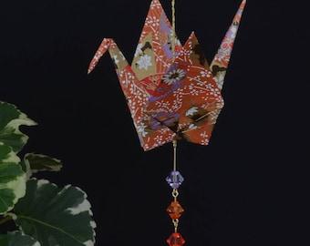 Origami Crane Suncatcher - burnt sienna colored Japanese paper, peace crane, hand varnished, with brilliant Swarovski crystals