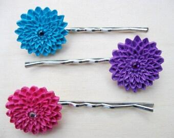 Flower Bobby Pins, Flower Hair Pins, Bobbie Pins,Pink, Purple, Blue Hair Pin, Hair Slides, Teen Hair Accessories, Girls Hair Clip