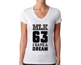 Martin Luther King Jr. V-neck T shirts Tops Black Lives Matter Women's Shirts