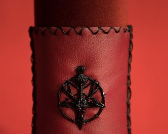Gothic Fantasy Larp leather wrist strap. Black metal reversed Pentagram.