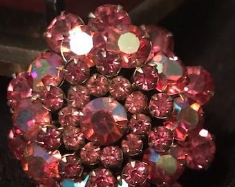 Vintage Brooch Pink Rhinestone Spray witb Brass Backing Beautiful Brooch SALE PRICE was 24.00 now 20.00